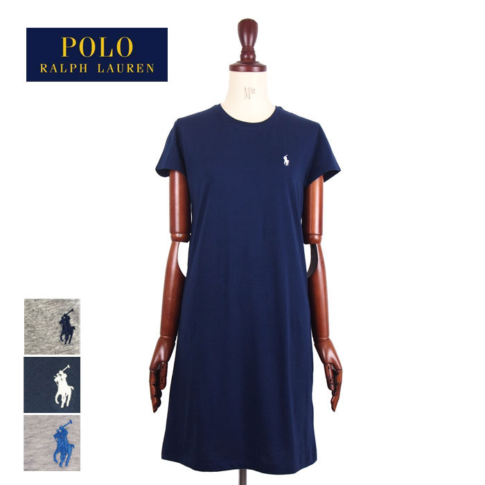 f645893a2672 Ralph Lauren polo Lady's pony one point crew neck T-shirt dress / navy ...