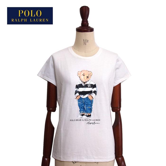 ラルフローレン ポロ レディース コットン ポロベアー クルーネック Tシャツ/ホワイトPOLO Ralph Lauren T-shirts