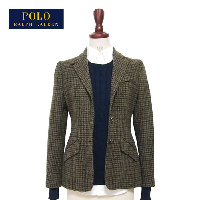 Italy Of By Polo Houndstooth Wool Jacket Check Lauren Made In Organiccotton Ladies Green Ralph OkXn80wP
