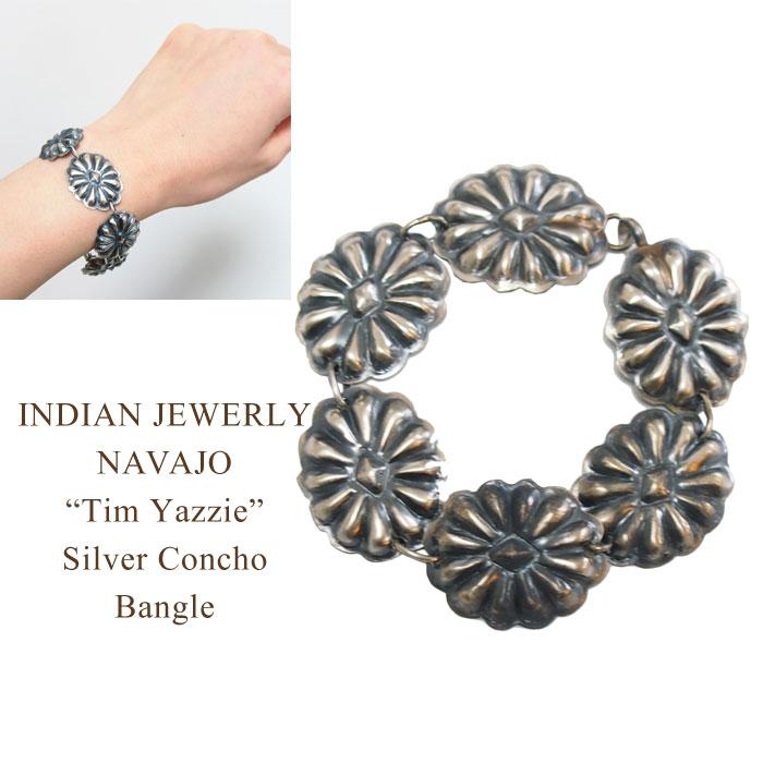 Indian Jewelry Navaho TIM YAZZIE Silver Stamp Concho Bracelet INDIAN JEWELRY NAVAJO