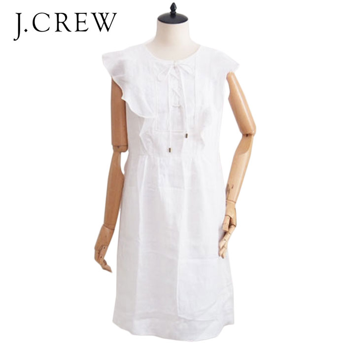 J.CREW PRICE DOWN 最安値に挑戦 SPECIAL 卸売り SALE ジェイクルー WHITE ワンピース あす楽対応 リネン レースアップ