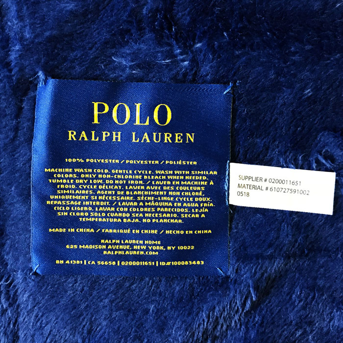 Ralph Lauren Polo Throw Tiger Blanket 188 127cm Navy Ralphs Tigers