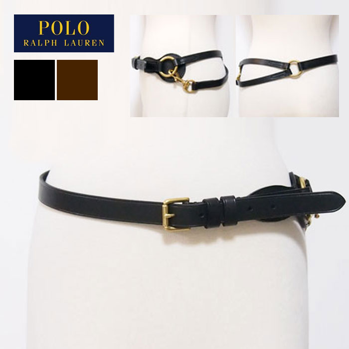 ラルフローレン ポロ レディース レザー ベルト/ブラック/ブラウンPOLO by Ralph Lauren Leather Belt