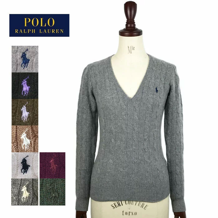 8550557665 Ralph Lauren Polo Womens Merino Wool cashmere V neck cable knit sweater POLO  by Ralph Lauren Knit Top
