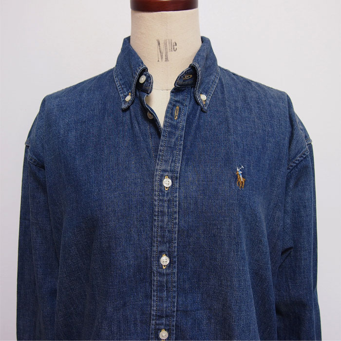 Shirt Lady's Pony Big Indigo Blue Lauren One Ralph Denim Point Polo KJTF3lc1