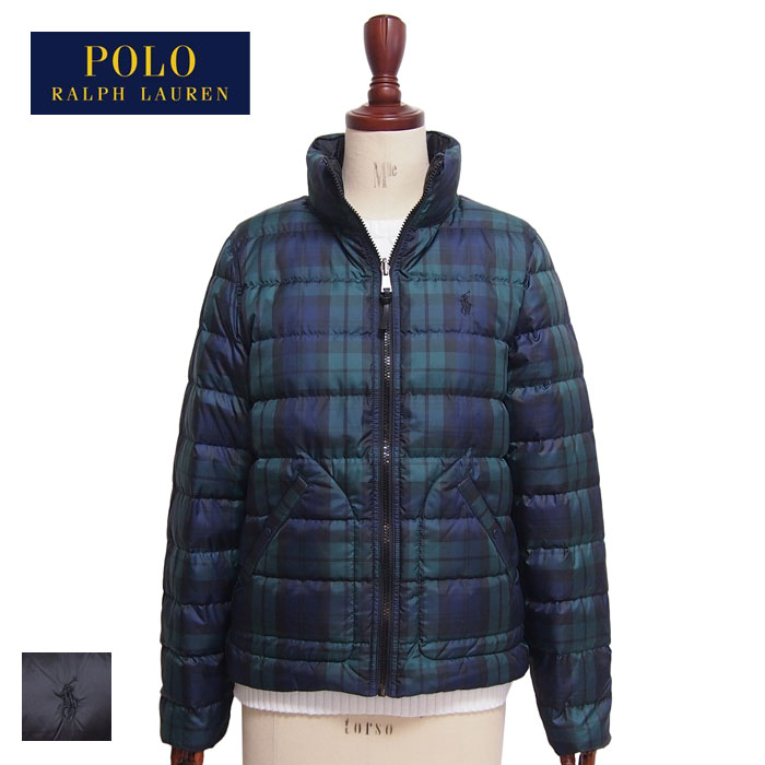 efd3738ec Ralph Lauren polo Lady's checked pattern reversible down jacket coat /  green / black POLO Ralph Lauren Down Jacket