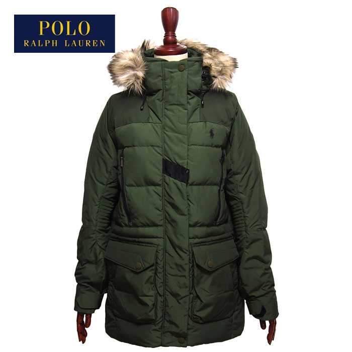 Military Lady's Fur Green Lauren Coat Polo Ralph With Down Jacket The 1JclFKT3