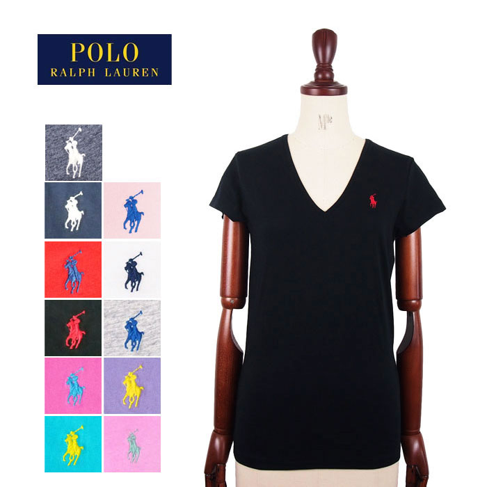 Ralph Ladies Shirt Lauren T Solid Cotton Polo V Neck NavieSale S5jR3cALq4