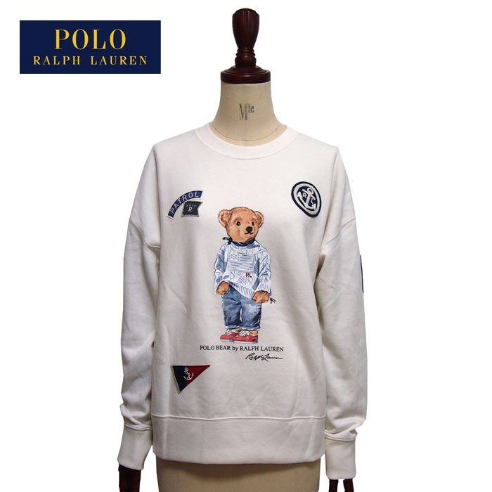 fcc636f53 Sweat shirt trainer   white POLO Ralph Lauren with ラルフローレンポロレディースポロベアーワッペン  ...