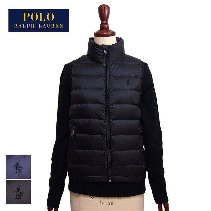 3bc58ffb Ralph Lauren polo Lady's pony embroidery high neck down vest / navy / black POLO  Ralph ...