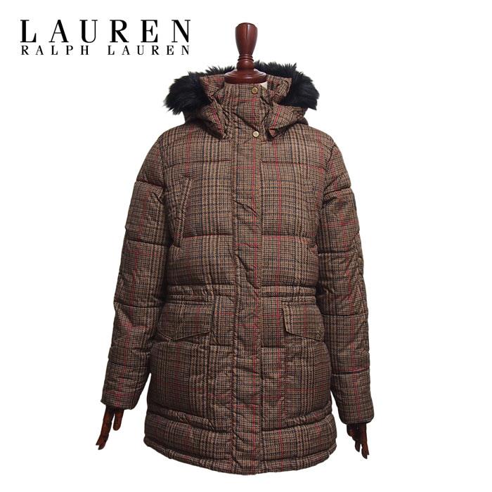 ラルフローレン ローレン レディース チェック 中綿 キルティング コート ジャケット/ブラウンLAUREN Ralph Lauren Coat