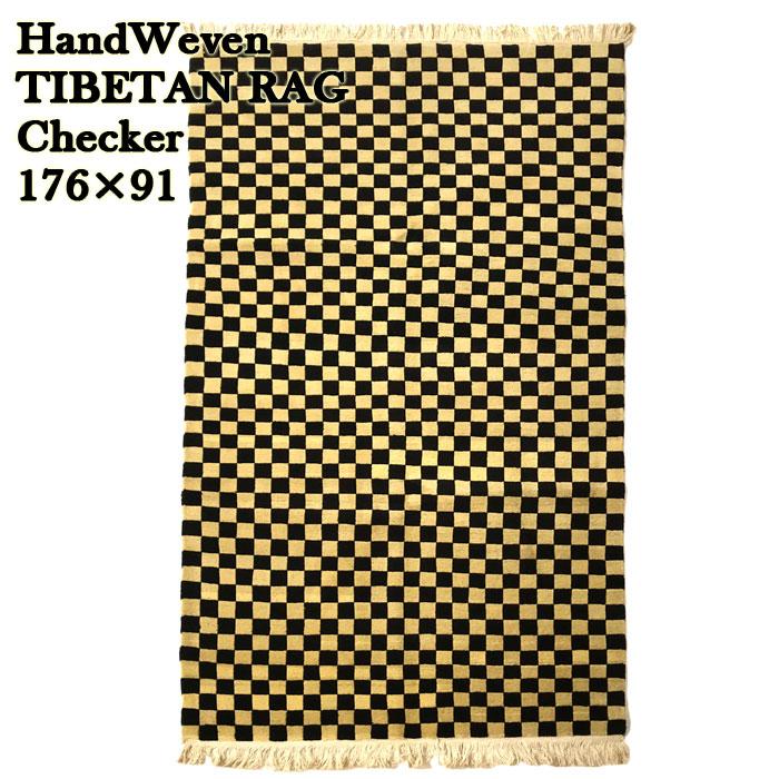 TIBETAN RUG チベタンラグ 絨毯 チェッカー/Checker/176×91