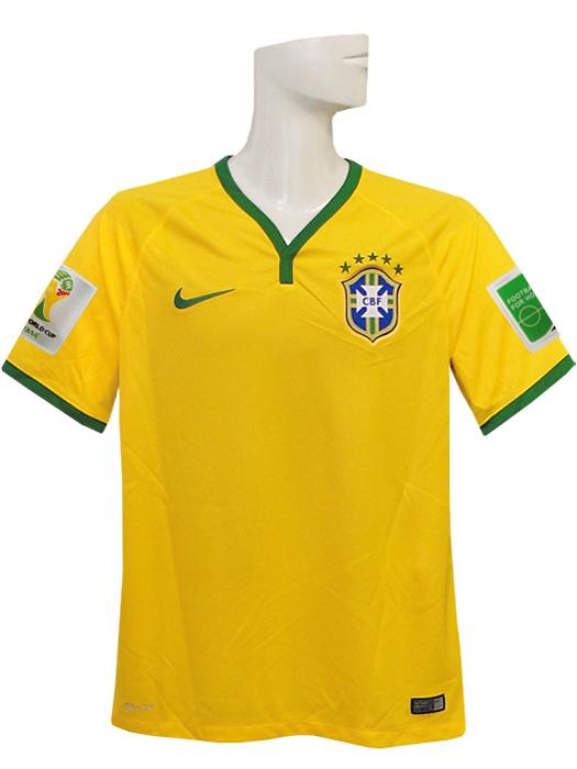 【送料無料】(ナイキ) NIKE/2014ブラジル代表/ホーム/半袖/2014FIFAワールドカップ/スリーブバッジ+FIFA FOOTBALL FOR HOPEバッジ付/575280-703