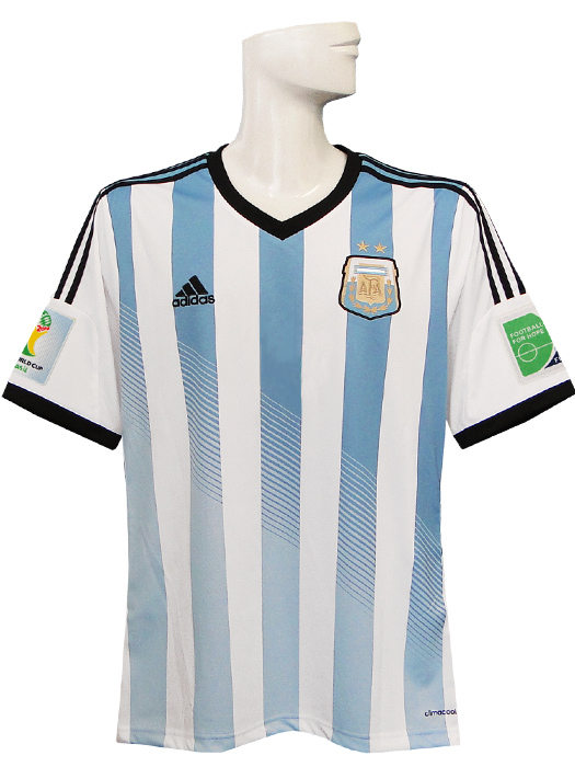 Adidas / 14 / 15 Argentina national team / home / short sleeve / 2014 FIFA  World Cup and sleeve badge + badge with a FIFA FOOTBALL FOR HOPE