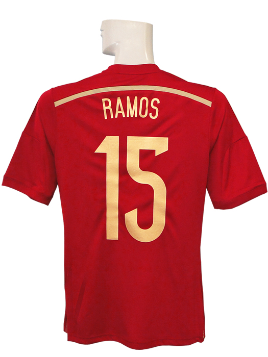 【送料無料】(アディダス) adidas/14/15スペイン代表/ホーム/半袖/セルヒオ・ラモス/ワールドカップバッジ付/フルマーキング仕様/AD712-G85279