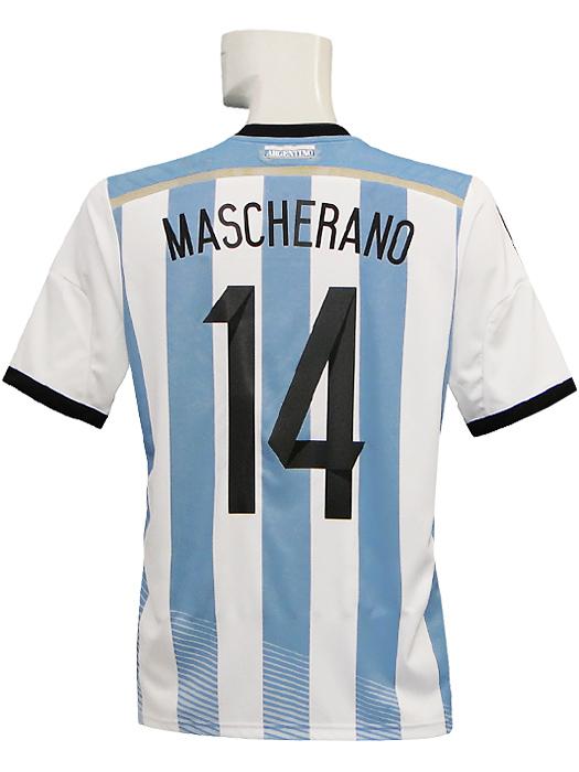 【送料無料】(アディダス) adidas/14/15アルゼンチン代表/ホーム/半袖/マスチェラーノ/準決勝マッチデー+W杯バッジ付/AI216-G74569