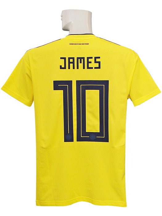 (Adidas)  CW1526 with representative from adidas 18 19 Colombia   home    short sleeves   James Rodriguez  2018 World Cup badge +LIVING FOOTBALL badge 8da4b12ae