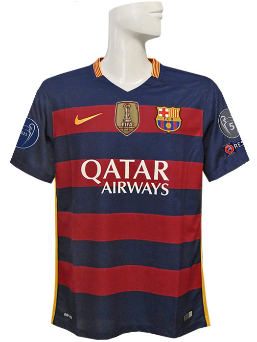 (Nike) / full marking /658794-422 with NIKE/15/16 Barcelona /CL/ home / short sleeves / Messi /2015FIFA club World Cup championship badge