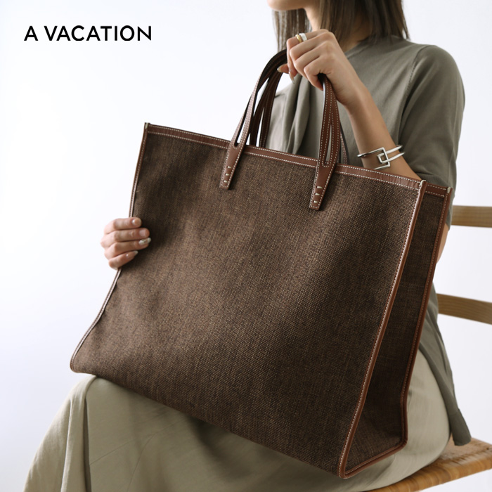 **【20SSコレクション】A VACATION〔ア ヴァケーション〕8019-CHTANK/キャンバスビッグトートバッグ(CHOCOLATE)【P2】