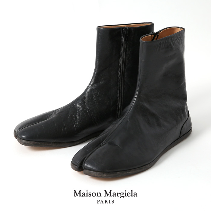 **【ネット限定1万円(税抜)以上で10%OFFクーポン8/28 11:59まで】Maison Margiela〔メゾン マルジェラ〕S57QU0134(G)タビフラットアンクルレザーブーツ【MENS】