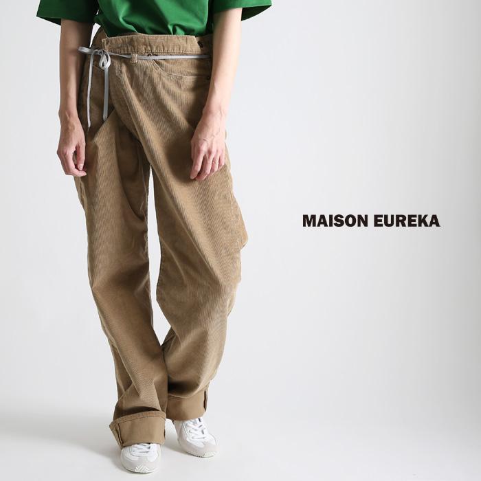 **再入荷 MAISON EUREKA〔メゾンエウレカ〕VINTAGE-PANTS-C017/VINTAGE REWORK BIGGY PANTS/ヴィンテージワイドリメイクコーデュロイパンツ【P2】