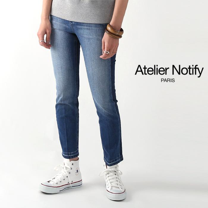 **【ネット限定セール60%OFF】Atelier Notify〔アトリエ ノティファイ〕NT172DTWBD24352-SCAPRI/ウォッシュドストレートストレッチクロップドデニムパンツ(WASH BLUE)【P2】