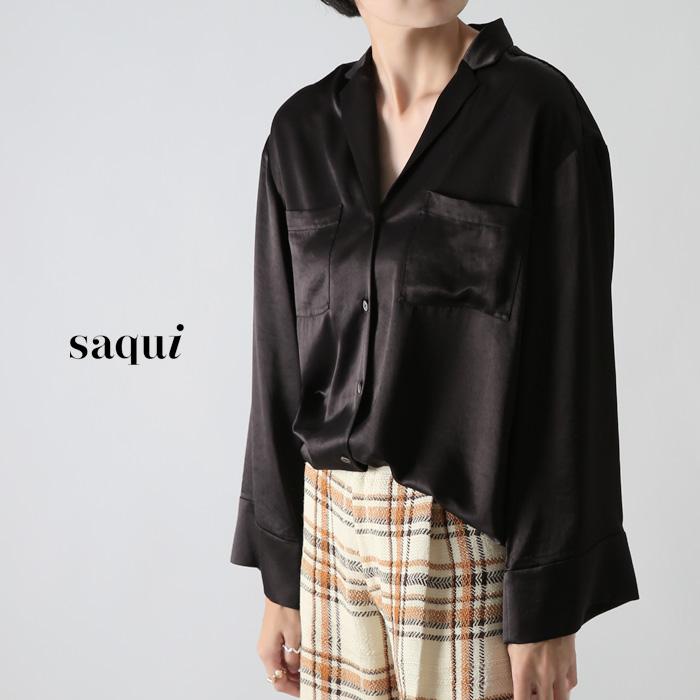 **【ネット限定AWセール30%OFF】saqui〔サキ〕19AW07Pyjyama shirt/オープンカラーフレアスリーブサテンシャツ【P2】