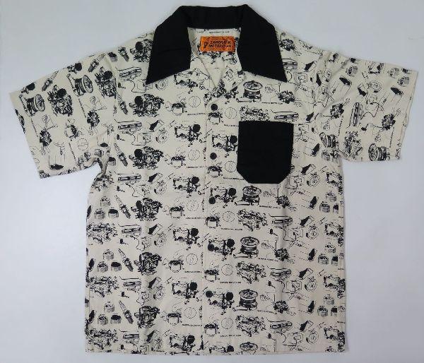 【サムライモータークラブ】 パーツ柄 半袖オープンシャツ SAMURAI MOTOR CLUB SMWS18-JP 日本製
