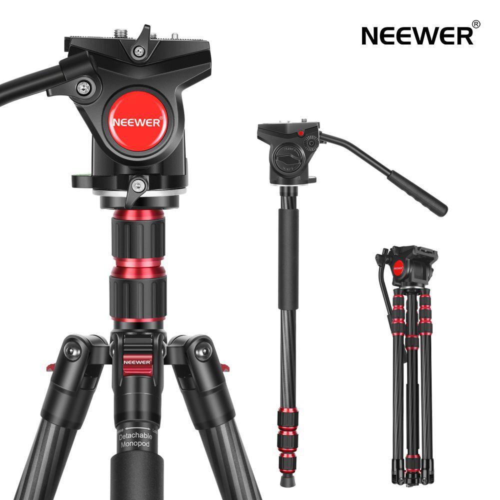 カメラ三脚一脚 一脚に変換できる [ギフト/プレゼント/ご褒美] 移動簡単 持ち運び便利 サービス 軽量で頑丈 調節可能 撮影ニーズを満足 送料無料 一年保証 Neewer 2-in-1 DSLRカメラ 軽量 N55CL 8インチネジ流体ドラッグパンヘッド付き 最大高さ200cm カメラビデオ三脚 1 ビデオカメラに対応 最大耐荷重10kg カーボンファイバー 4と3
