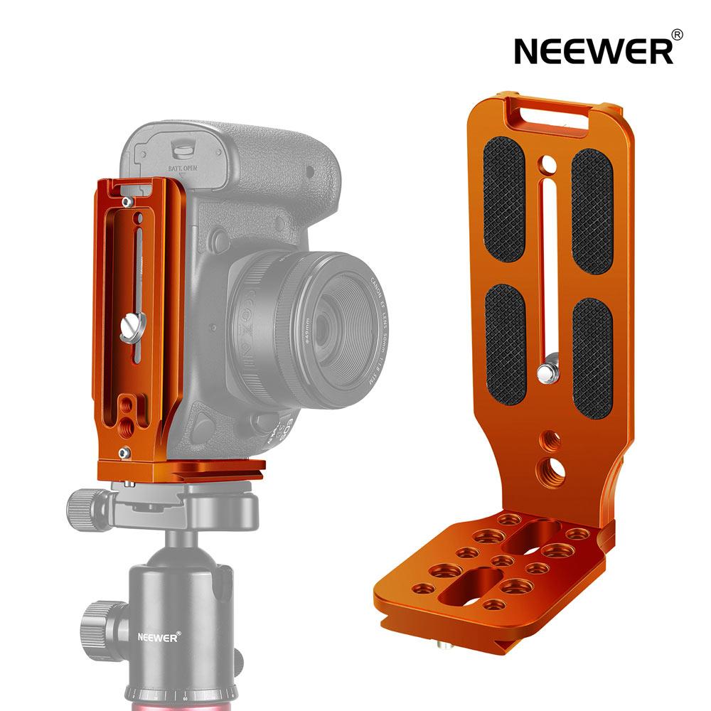 カメラアクセサリー 送料無料 一年保証 Neewer L型ブラケットクイックシューQRプレート垂直撮影カメラLブラケット 新入荷 流行 1 4インチスクリューアルカスイス付き DJI Osmo に対応 Canon Sony Nikon DSLR Zhiyun Ronin オレンジ 激安通販