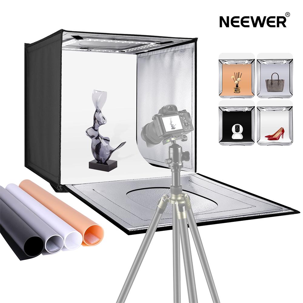 送料無料 一年保証 ミニライトテント Neewer 写真スタジオライトボックス 40cm撮影ライトテント 明るさ調整可能 4色背景 未使用 卓上写真照明キッ 折りたたみ式 80 LEDライト ト ポータブル 送料無料(一部地域を除く)