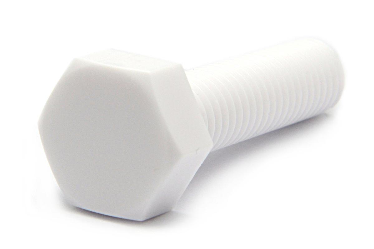 ポリカ/ホワイト 六角ボルトM10×25 【 小箱 : 1箱/100本入り 】