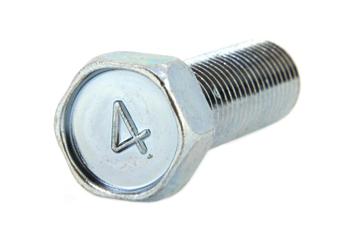 鉄/三価ホワイト [小形] 4マーク 六角アプセットボルト (細目)M10×80 《ピッチ=1.25》 【 小箱 : 1箱/80本入り 】