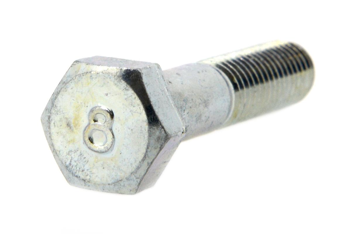 鉄(S45C)/三価ホワイト 8マーク 六角ボルト (半ねじ)M8×110 【 小箱 : 1箱/75本入り 】