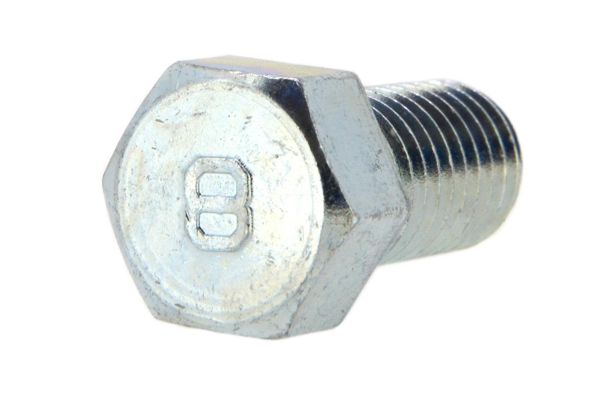 鉄(S45C)/三価ホワイト [小形] 8マーク 六角ボルト (全ねじ)M8×16 【 小箱 : 1箱/300本入り 】