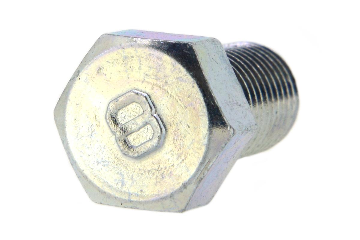 鉄(S45C)/三価ホワイト [小形] 8マーク 六角ボルト (細目・全ねじ)M12×25 《ピッチ=1.25》 【 小箱 : 1箱/100本入り 】