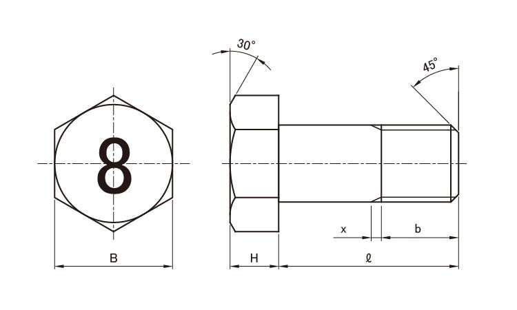 鉄/ (半ねじ) 六角ボルト M8×120 8マーク 三価ステンコート 【 小箱 : 1箱/70本入り 】