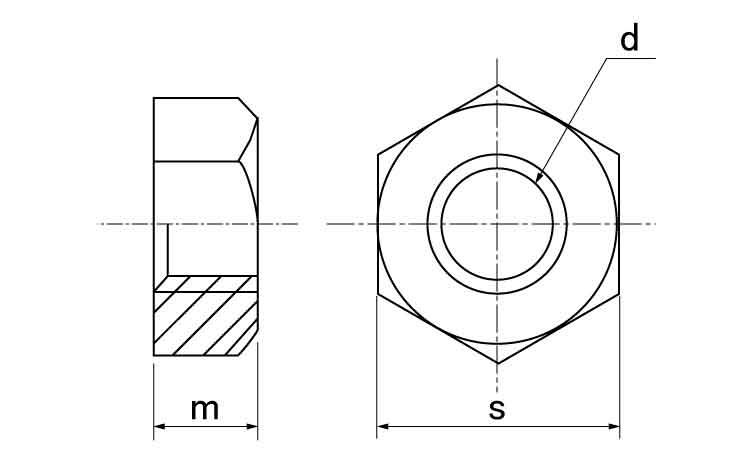 鉄(SCM435)/生地六角ナット[1種]切削加工(左ねじ)M30【お得セット:10個入り】