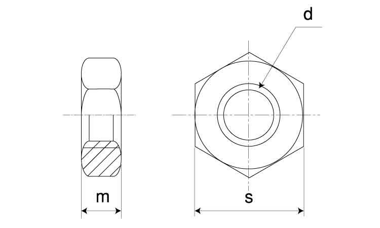 SUS304L/生地六角ナット[3種]切削加工M18【小箱:1箱/90個入り】