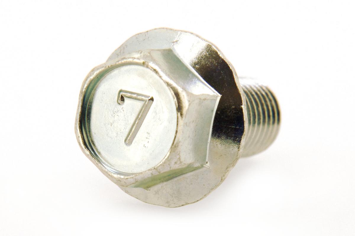 鉄/三価ホワイト 7マーク フランジボルト [2種・セレート付き](細目・全ねじ) M10×35 《ピッチ=1.25》 【 小箱 : 1箱/90本入り 】