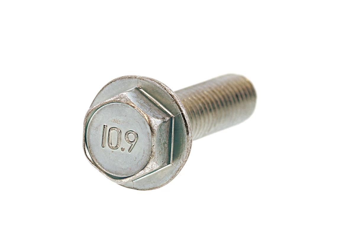 鉄(SCM435)/三価ホワイト フランジボルト [1種 ・強度区分:10.9] (全ねじ)M6×25 【 小箱 : 1箱/300本入り 】