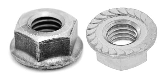 鉄/三価ブラック フランジナット [セレート付] (左ねじ)M4 【 小箱 : 1箱/2500個入り 】