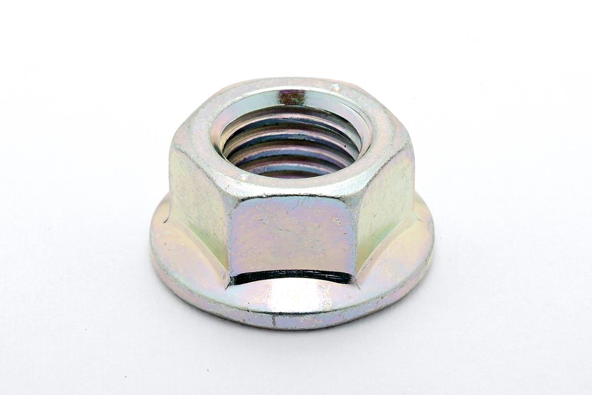 鉄(S45C)/三価ホワイト フランジナット (細目)M12 《ピッチ=1.25》 【 小箱 : 1箱/170個入り 】