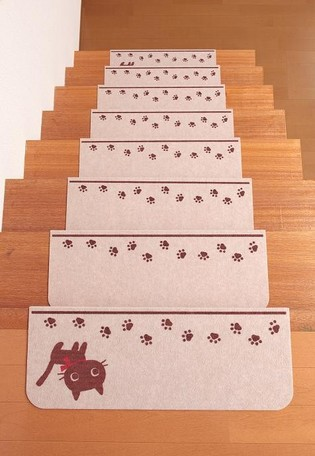 (*^_^*)☆ネコのシルエットがかわいい、人気シリーズのNEWアイテム*階段用棚板-マット15枚で1SET****安心・日本製,.,.汚れたら 洗濯機で丸洗いOK!!