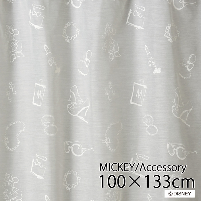 【送料無料12/24 1:59迄P2倍】日本製 ディズニー レースカーテン 100×133cm「ミッキー/アクセサリー」レースカーテン 1枚入り 洗える Disney かわいい 可愛い ミッキー MICKEY スミノエ DISNEY HOME SERISE M-1172(NW)
