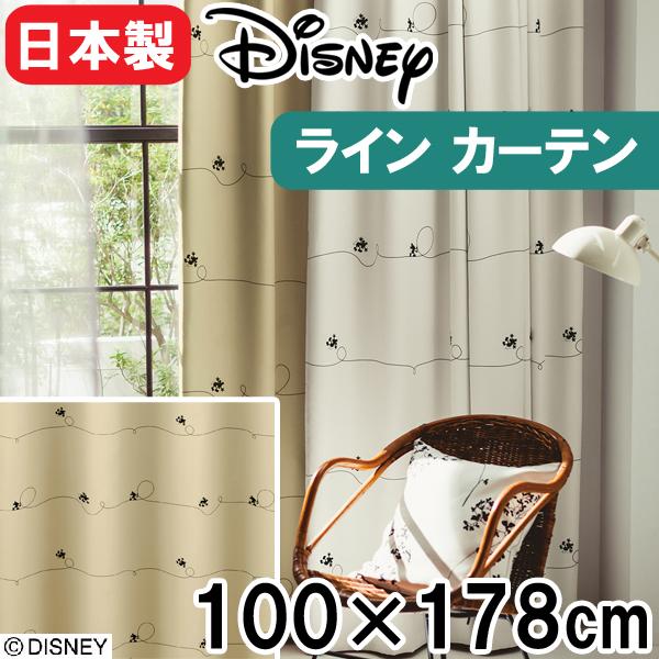 【送料無料12/24 1:59迄P2倍】ディズニー カーテン 100×178cm 「ミッキー/ライン」 1枚入り 洗える