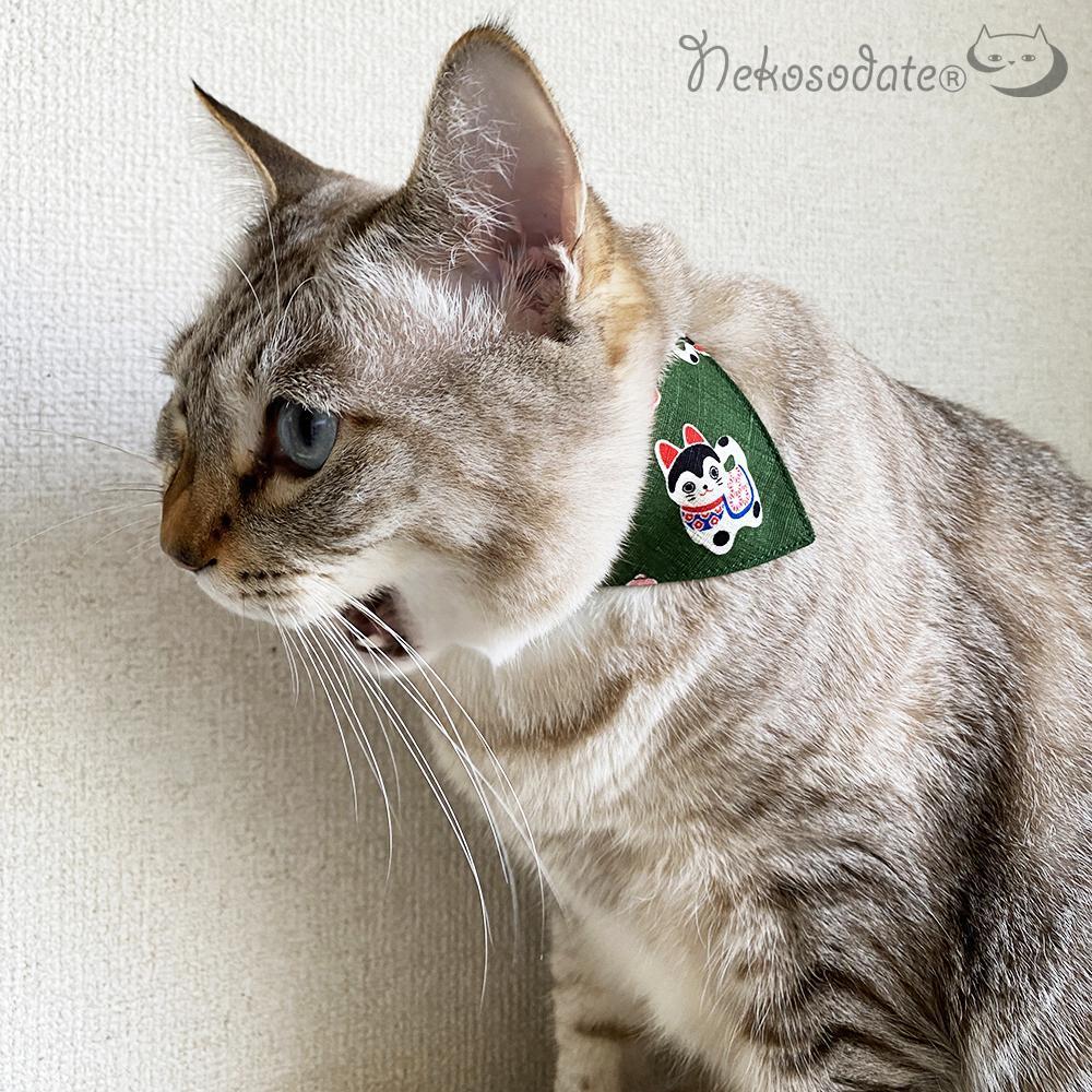 期間限定で特別価格 猫の首輪 ネコソダテ 軽量でつけ心地抜群の安全首輪 首輪嫌いの猫様も安心 猫 首輪 コットン製 バンダナ風セーフティ 国産 35%OFF 安全 犬張子と梅柄グリーン