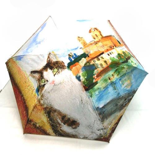 猫柄レディース雨傘 マンハッタナーズ 激安超特価 捧呈 サンタトリニータ橋のフェデリコ ミニ折り畳み傘