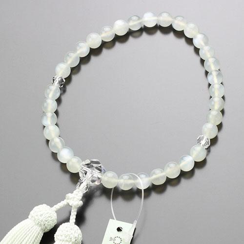 【数珠袋付き】数珠 女性用 約8ミリ ムーンストーン カット水晶 正絹房【略式数珠 6月の誕生石 はな花オリジナル 京念珠 8mm JIM 102080097】【送料無料】