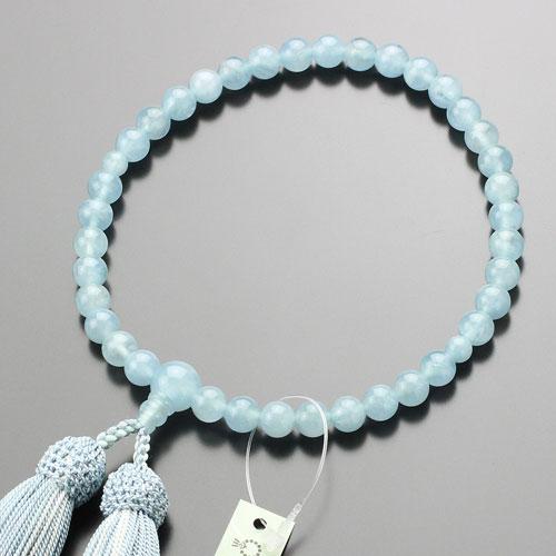 【数珠袋付き】数珠 女性用 約7ミリ アクアマリン 正絹房【略式数珠 京都 3月の誕生石 IM 102080172】【送料無料】